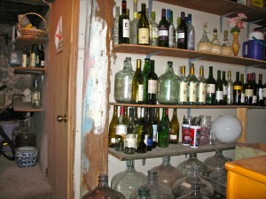 The outside of the makeshift wine room in the RootsLiving cellar.